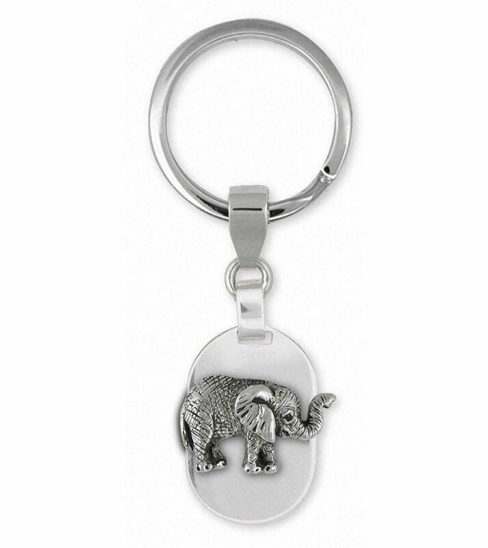 Elephant Jewelry Sterling Silver Elephant Key Ring Handmade Wildlife Jewelry EL5