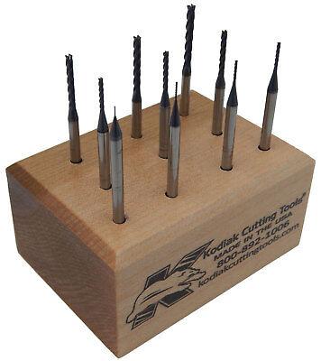 Kodiak Long Micro Carbide End Mill Set .010-.100 Length Of Cut 8xs Dia Waltin