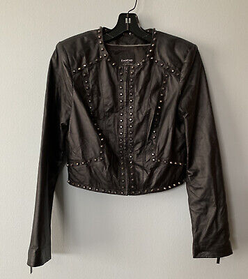 Bebe Black Leather Cropped Studded Jacket Size Small