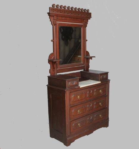 Antique Victorian Walnut Dresser – original finish - Marble Insert - Stylish Mir