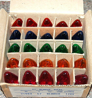 C-7 MULTI-COLOR CLEAR TWINKLE BULBS 1 BOXES OF 25 REPLACEMENT BULBS ONLY