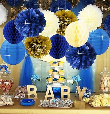 Royal Prince Baby Shower Decorations Furuix Navy Cream Gold Bridal Tissue