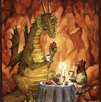 """""""TEA TIME WITH THE DRAGON"""" BEAR SERVES WAFFLES,COLLECTIBLE GREETING,ART CARD"""