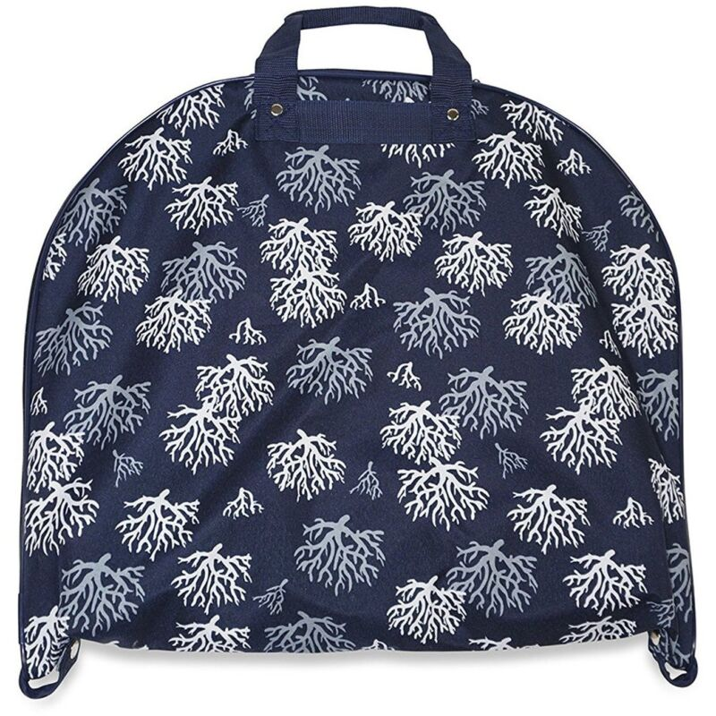 Navy Blue Coral Print Hanging Garment Bag Luggage Travel Dress Suit Carry On