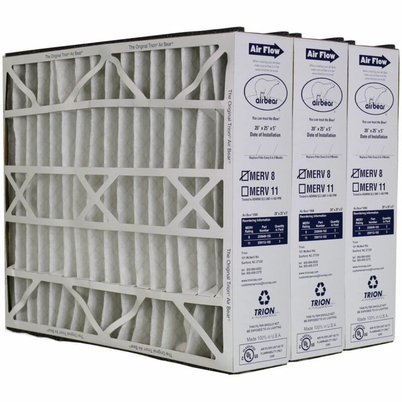 Trion 255649-102 Air Bear 20 x 25 x 5 Inch MERV 8 Air Purifier Filter (3 Pack)