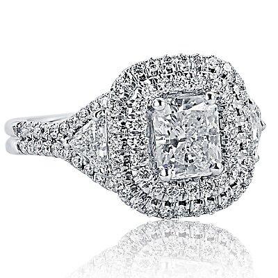 GIA Certified 2.19 Carat Radiant Cut Trillion Diamond Engagement Ring 18k Gold