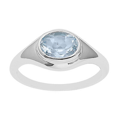 Bezel Set Oval Blue Topaz Cut Solitaire Ring Wedding Anniversary 925 Silver Band