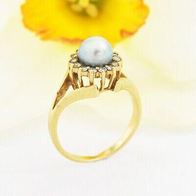 14k Yellow Gold Estate Gray Pearl Diamond Ring Size 6.25 - $186.74