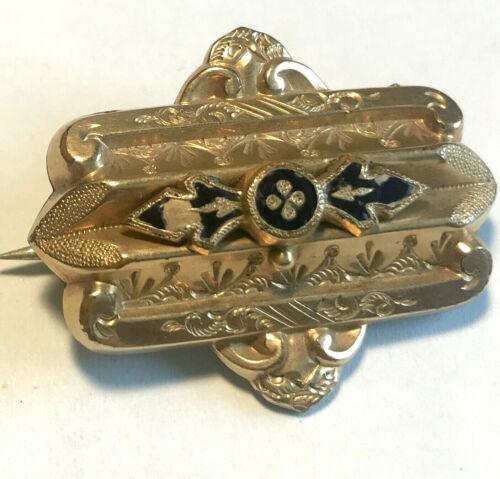 Antique Vintage Gold Pin Pendant with Blue Enamel, Circa 1900