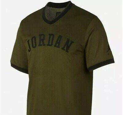 NWT Nike Air Jordan Mesh Jumpman Jersey Shirt Olive Green Large AR0028 395 ()