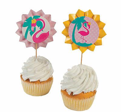 Pool Party Food (25 Flamingo Fan Food Picks Luau Pool Beach Birthday Party Baby Shower)