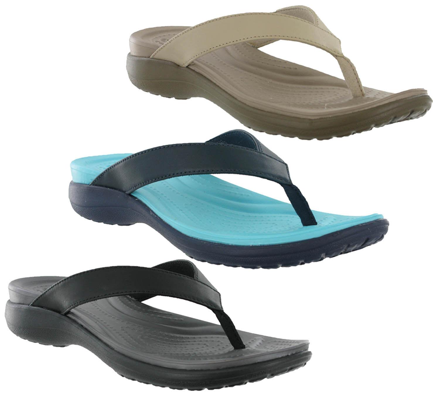 477d910621c4 Crocs Capri V Flip Comfort Walking Leather Slip On Toe Post Womens Sandals  UK4-9