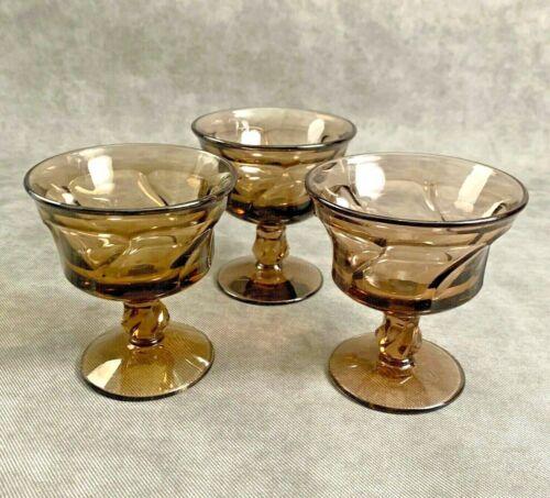3 Fostoria Jamestown Brown Tawny Glass Champagne Sherbet Dessert Dishes Cups