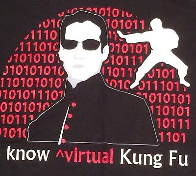 Blk T Shirt Virtual Kung Fu Commvault Computer Company Binary Code Xl Geek Tech