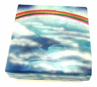 Kubla Craft Rainbow in the Sky Capiz Shell Keepsake Box, 3 Inches Square