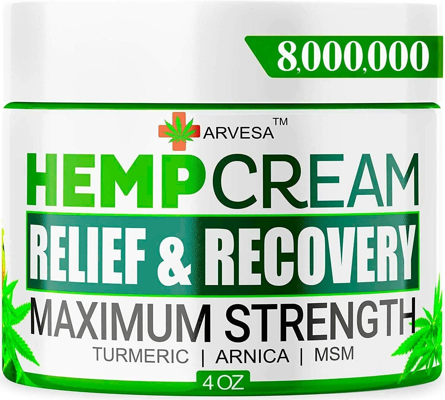 Instant Hemp Pain Relief Cream 8M Muscle Joint Foot Back Turmeric Arnica 4oz USA