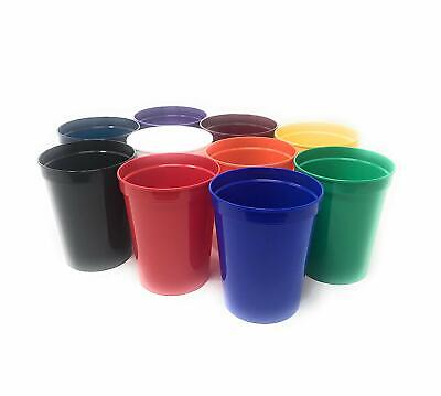 10 Pack Blank 16 Oz Plastic Stadium Cups Bulk Tumblers - Reusable Or Disposable