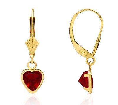 14K Solid Yellow Gold Bezel Set Ruby Heart Leverback Dangle Earrings 6mm