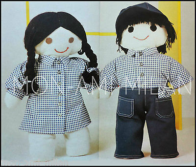 Rag Dolls with Clothes, Sewing Pattern Photocopy To Make Boy & Girl Toys, 19