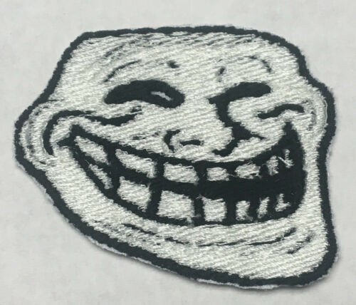 Troll Face Embroidered Patch Iron-On Backing 4chan Meme Trollface