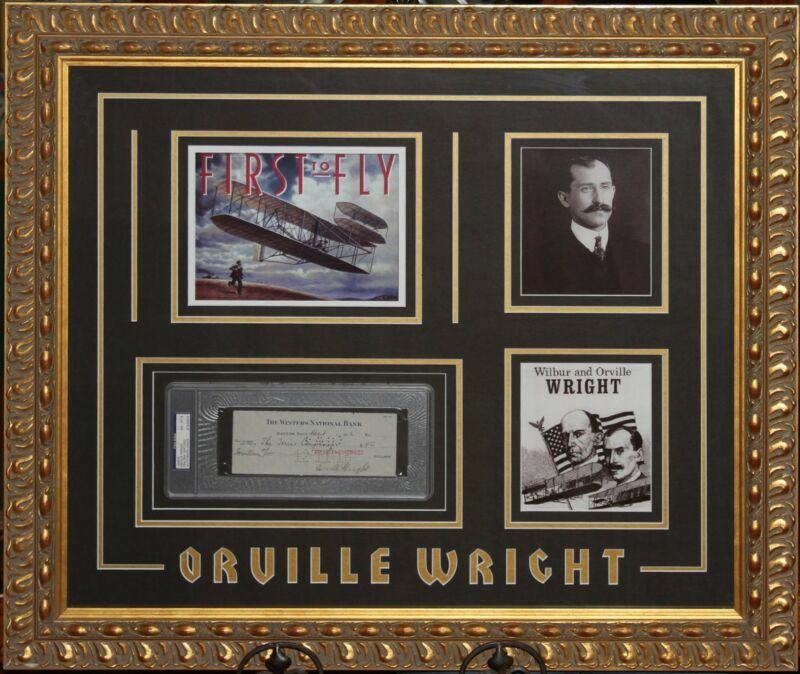 Wright Brothers Framed Pictures & Orville Wright Signed Check Autograph Auto PSA