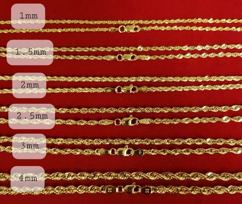 10K Solid Yellow Gold Necklace Rope Chain 16