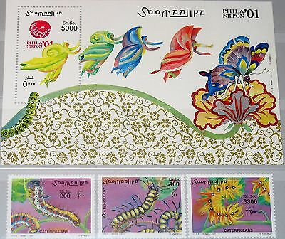 SOMALIA 2001 886-888 Block 79 Raupen Larvals Insects Insekten PHILANIPPON MNH