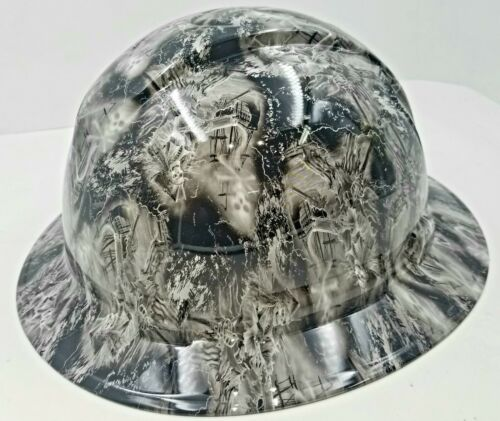NEW FULL BRIM Hard Hat custom hydro dipped  PIRATE SKULLS FROM THE GRAVE  3