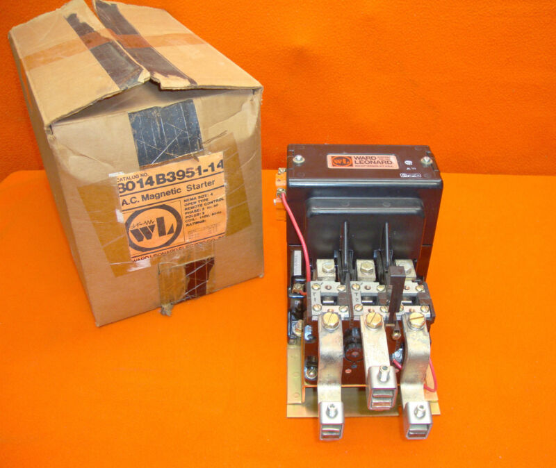 NEW Ward Leonard 8014B3951-14 AC Magnetic Motor Starter Size 4 3 Pole 100 Hp