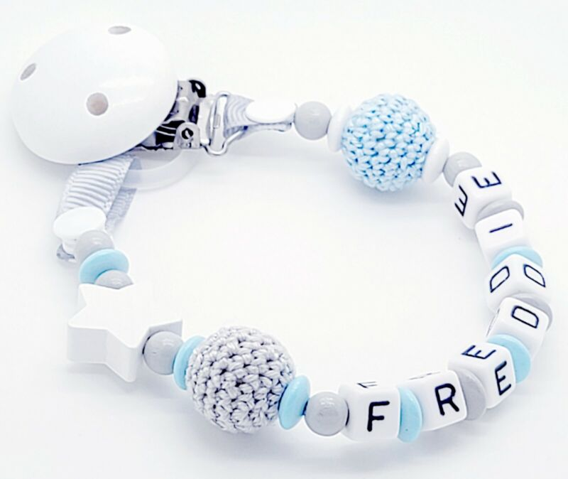 Personalised Baby Dummy Soother Pacifier Wooden Clip Holder Strap Chain Gift MAM
