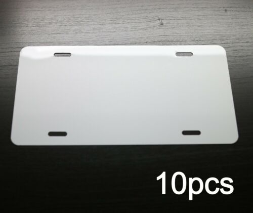 "10pcs .025 6""x12"" Gloss White Blank Aluminum License Plate Car Tag Blanks Masked"