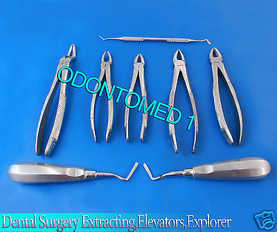 Lot Of 8pcs-dental Surgery Extractingelevatorsexplorer Instruments Set Kit