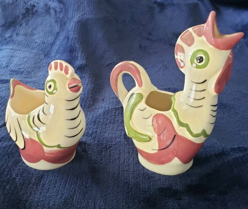Vintage hand-painted California Cleminsons pottery sugar and creamer set