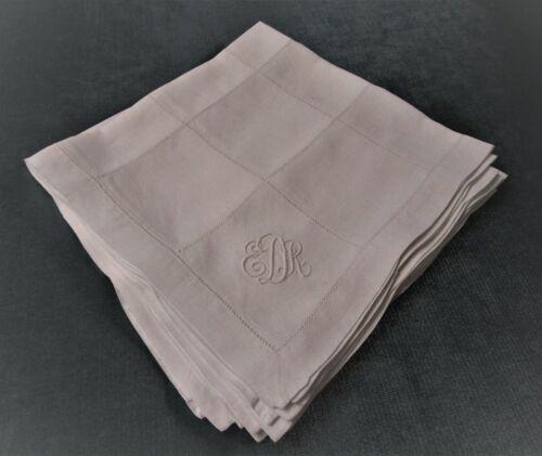 Antique 7 Linen Napkins Hemstitched Squares EDK Monogram Excellent & Table Ready