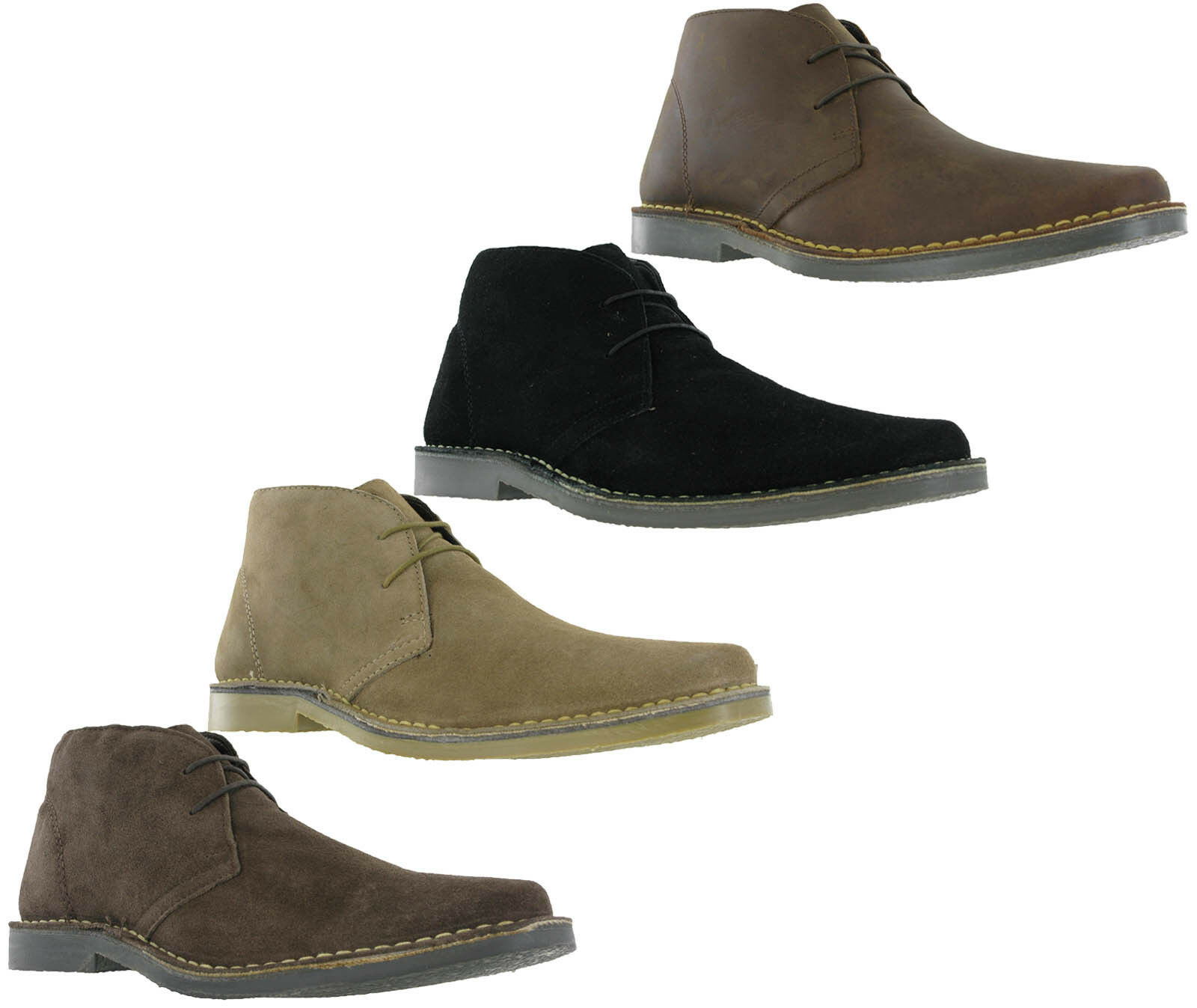Roamers Mens Suede Leather 2 Eyelet Lace Up Chisel Toe Casual Desert Boots Sand