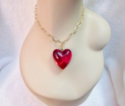 Vintage Lucite Red Heart Necklace Art Deco Celluloid Chain Chunky Pendant Superb