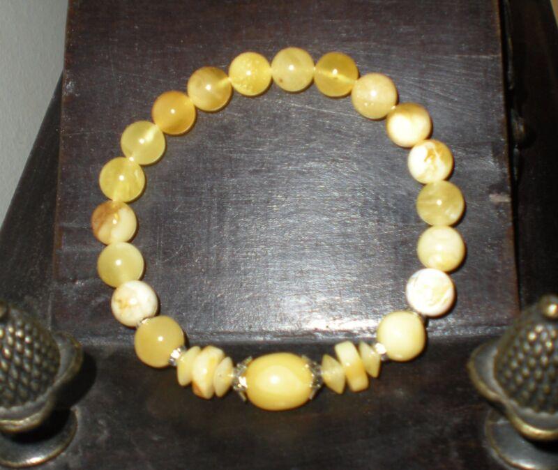 Natural Baltic Amber Butterscotch & Butter Bracelet Round Shape Beads