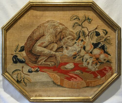 MID 19TH CENTURY NEEDLEPOINT OF A MONKEY & PLAYFUL KITTENS ON A CUSHION c.1870