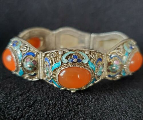 Exquisite Chinese Silver and Carnelian Filigree Enamel Bracelet