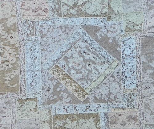 """ANTIQUE ROMANTIC HANDMADE LACE NORMANDY ELABORATE LACE DOILY-36""""x33""""(92x86 cm)"""