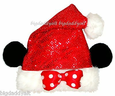 NEW Disney Parks Minnie Mouse Red Sequin Santa Christmas Costume Hat - Christmas Minnie Mouse Costume
