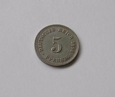 KAISERREICH: 5 Pfennig 1894 A, J. 12, fast stempelglanz !!!