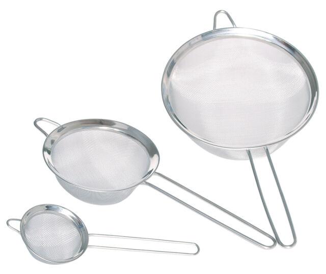 Kitchen Craft Set of 3 Stainless Steel Fine Mesh Round Sieves