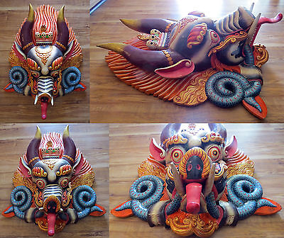 Cheppu Wood Mask: Nepal Tibet Buddhist Hindu carving wall hanging Garuda