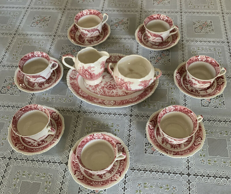 Antique English Woods & Sons 7 Set Tea Cups Saucers  Creamer Sugar Oval Plate