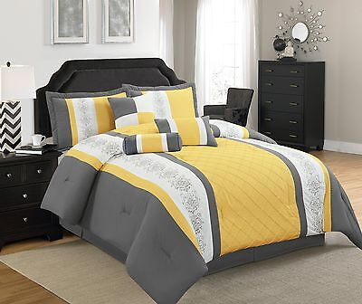 Yellow Comforter - 7 Pieces Striped Microfiber Comforter Set with Embroidered Design Yellow Grey