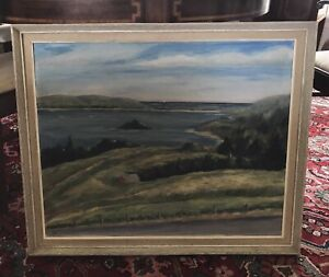 LARGE OIL ON CANVAS OF LAWRENCETOWN