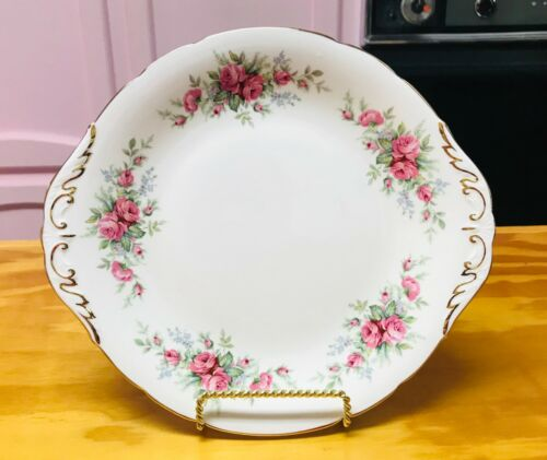 Royal Standard Fine Bone China Rambling Rose Tab Handled Cake Plate