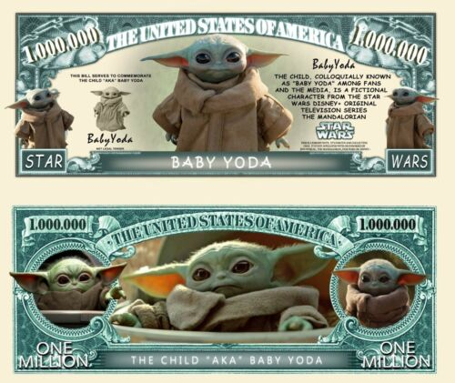 Baby Yoda Million Dollar Bill Star Wars Funny Money Novelty Note + FREE SLEEVE