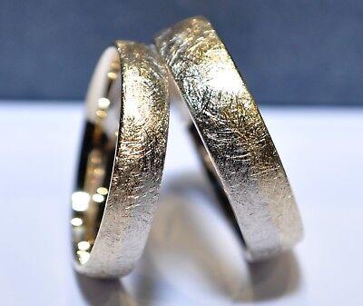 Gold Eis (1 Paar Trauringe Eheringe Gold 333, 585 oder 750 - Eismatt - Bicolor - Weiß/Gelb)